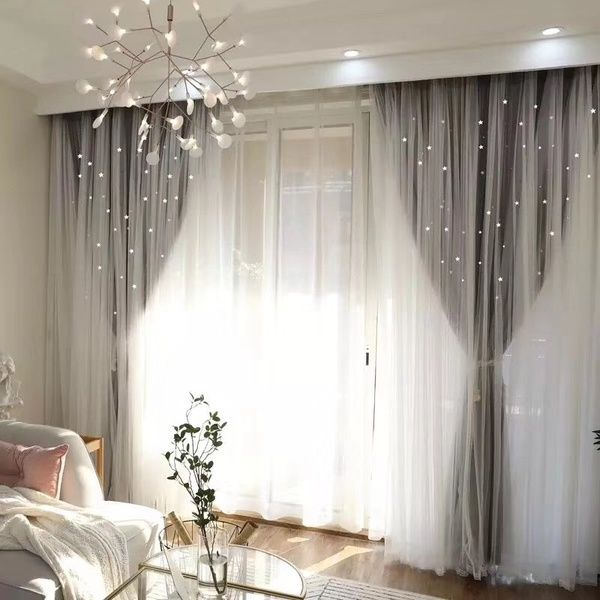 European Style Home Decor Romantic Voile+Cloth Curtains for Living Room Grey Ready Blackout Drapes Window Tulle for Bedroom Cortinas | Wish