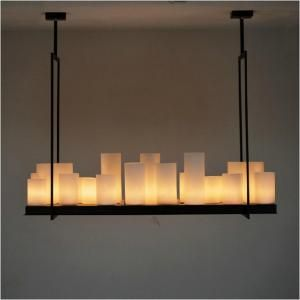 European style Rectangle modern candle decorative modern chandelier, Iron white …