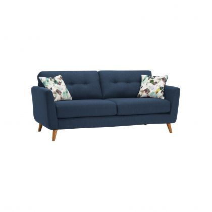 Evie 3 Seater Sofa in Blue Fabric   Oak Furnitureland