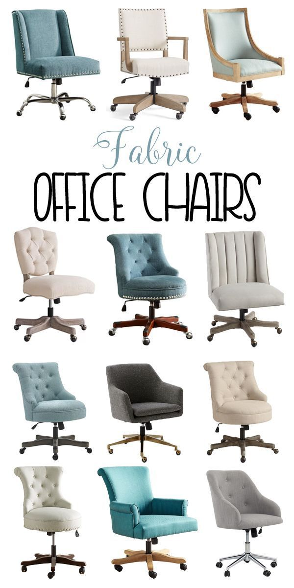 Fabric Office Chairs in creamy whites, teals and grays!