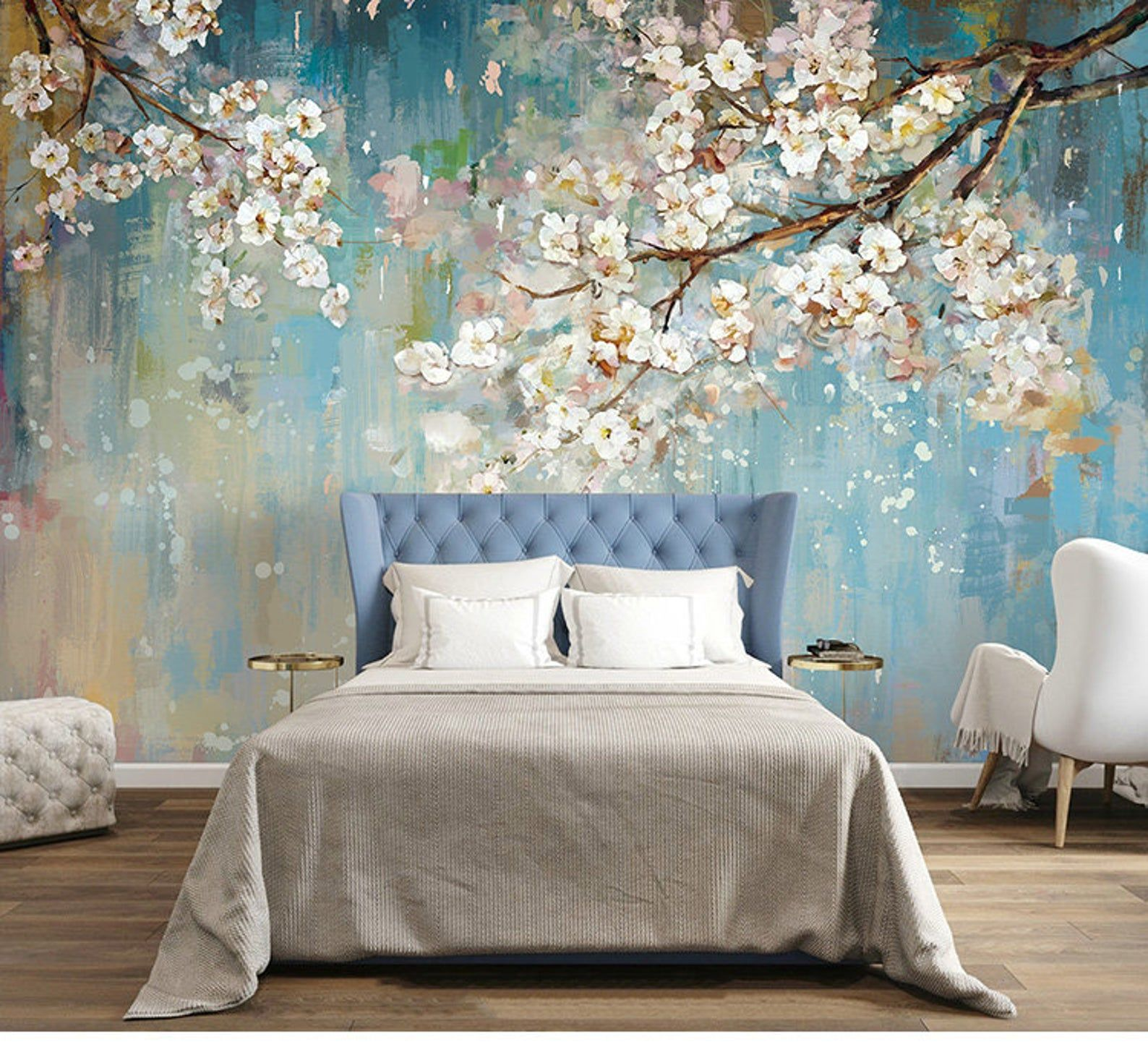 Fabulous Oil Painting Wallpaper Wall Mural, Sakura Tree Wall Art for Bedroom/Living Room Wall Murals, Blooming Floral Wallpaper Wall Mural