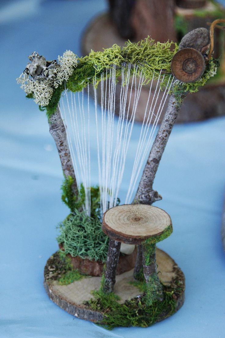 Fairy garden diy – ~ MINIATURE IDEAS ~ Woodland Harp  Harp Ideas Miniature woodland