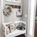 Fall buffalo check entry way bench decor! | Wilshire Collections
