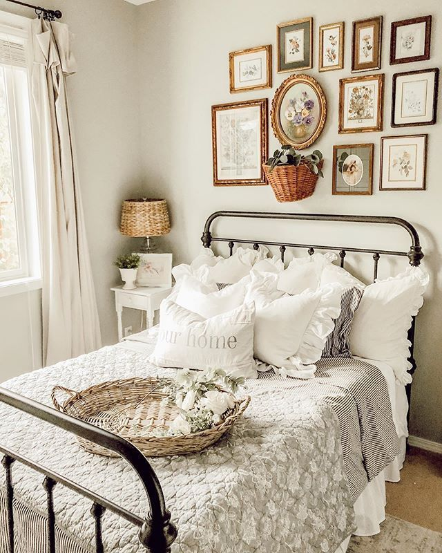 Farmhouse Cottage Bedroom home decor inspo with ruffle pillows and shabby decor …