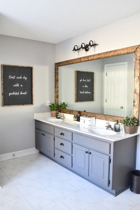 Farmhouse Master Bathroom Makeover ($100 room challenge)