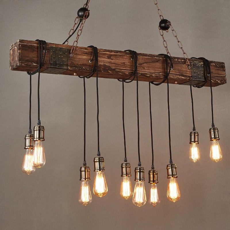Farmhouse Style Dark Distressed Wood Beam Large Linear Island Pendant Light 10 Edison Bulbs