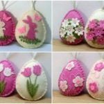 Felt Easter decoration, Felt Easter eggs with flowers, tulip, daffodil, Easter ornaments, Felt Easter party decor / set of 4 /MADE TO ORDER