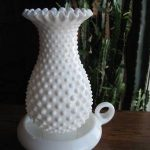 Fenton Hobnail Milk Glass Handled Hurricane Lamp -- Antique Price Guide Details Page