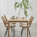 Flat Rattan Dining Chair - Natural
