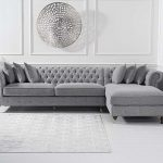 Flora Grey Linen Right Facing Chesterfield Chaise Sofa