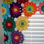 Flower Valance- Flower Curtains- Crochet Curtains- Kitchen Curtains- Colorful Curtains- Custom Curtains- Window Valance