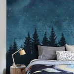 Forest Trees Night Scene Mural Wallpaper, Navy, Extra Large Wall Art, Peel and Stick Wall Mural
