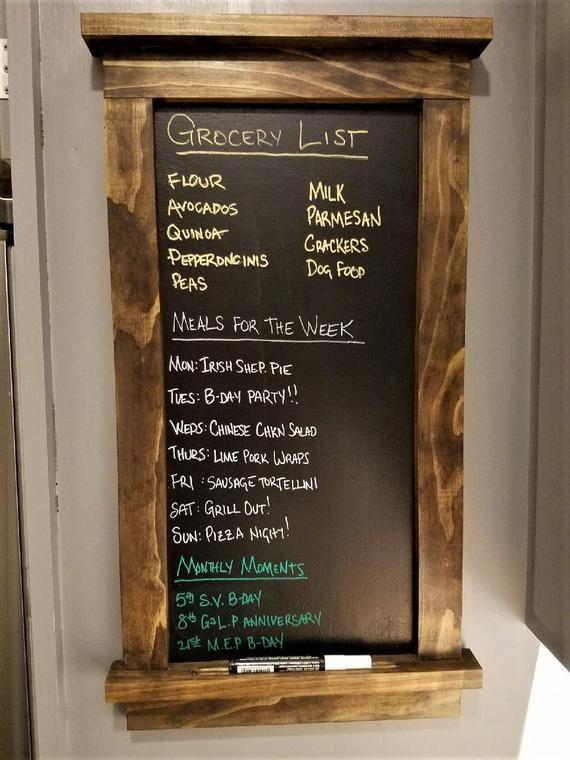 Framed Chalkboard Kitchen Menu or Grocery List