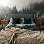 From Boring Beige to Forest Chic – Master Bedroom Before and After Forest mura...