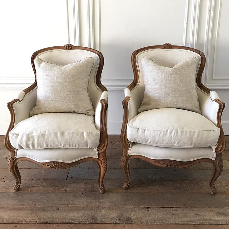 """Full Bloom Cottage on Instagram: """"Handsome pair of wood carved bergeres in oatmeal linen coming soon…. #french #bergeres #antiques #organiclinen"""""""