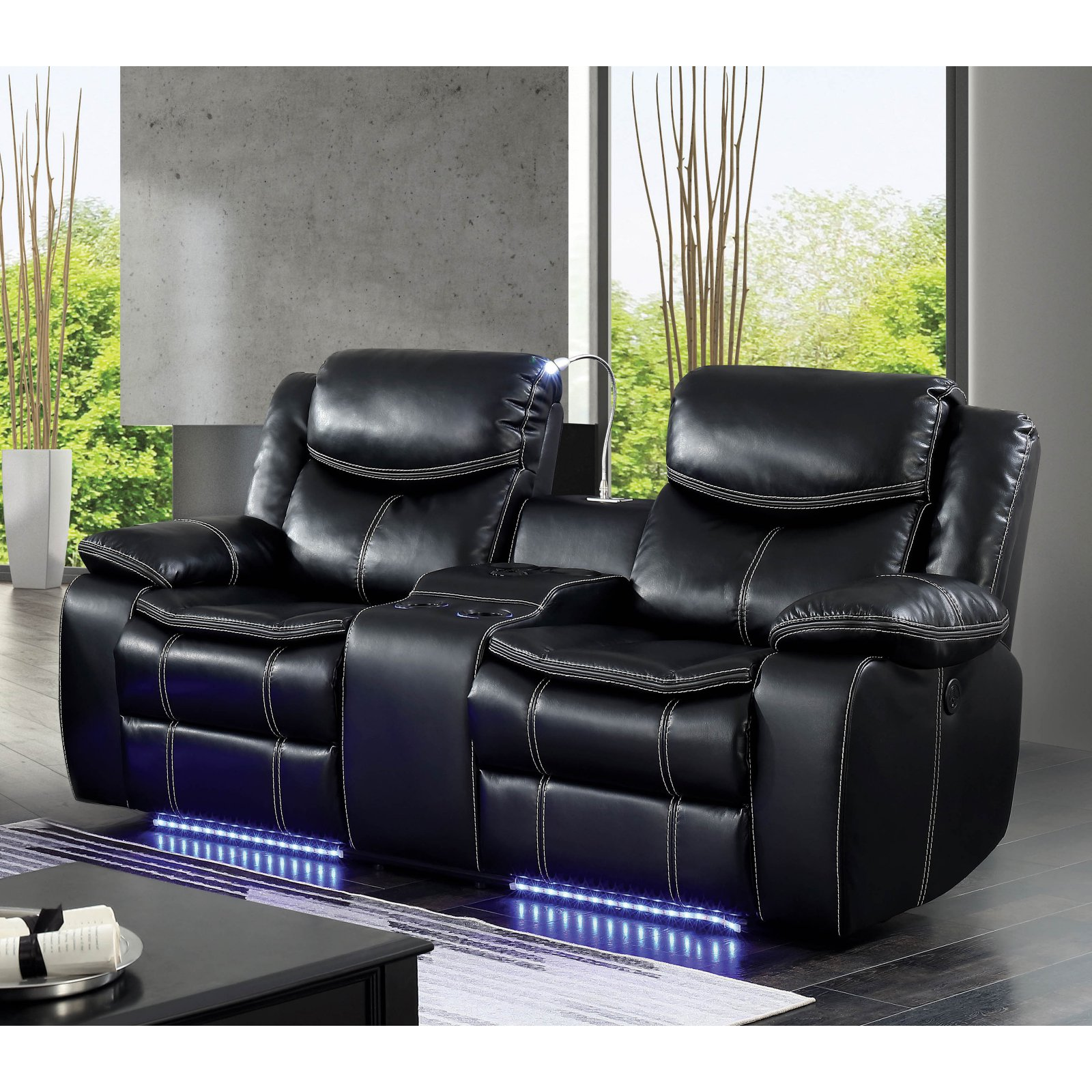 Furniture of America Kristoffer LED Bluetooth Power Recliner Loveseat