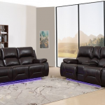 GU-9422BR-2PCPWR 2 pc Quincy brown leather aire power motion recliners and headrests sofa and love seat set