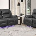GU-9422GR-2PCPWR 2 pc Quincy gray leather aire power motion recliners and headrests sofa and love seat set