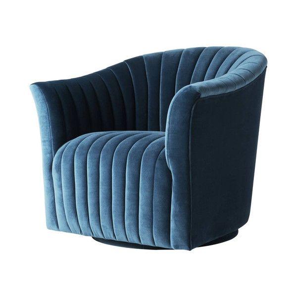 Gabe Swivel Chair In Spruce Velvet – Floor Model