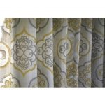"Geometric Light Gold Damask Curtain Panels 52""x96"" Grommet Drapes Valence Bedroom Window Treatments"