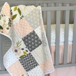 Girl crib quilt - Blush, pink and Gray - Baby or toddler quilt - floral - arrow  - Baby bedding - girls baby bedding - soft - minky