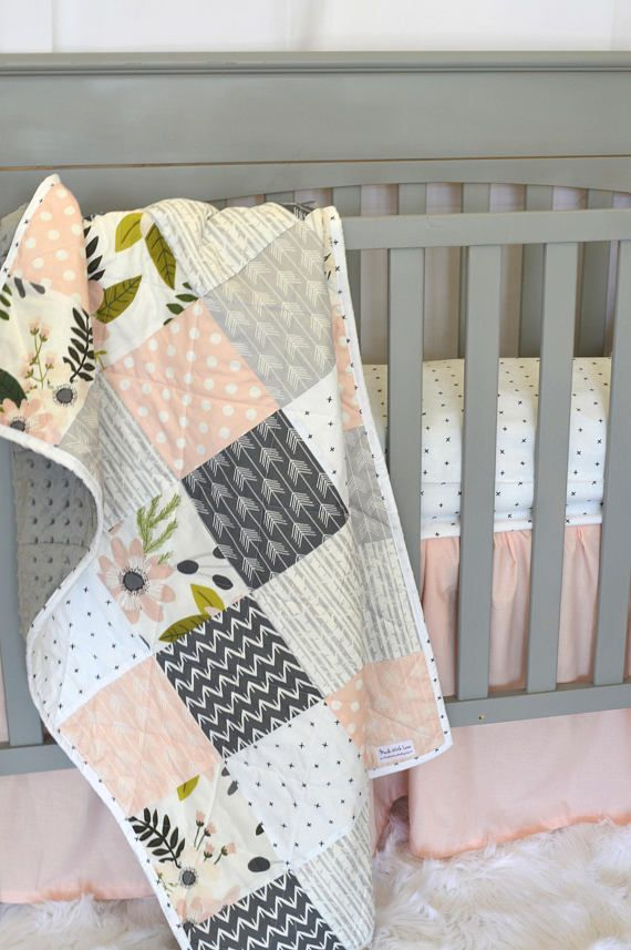 Girl crib quilt – Blush, pink and Gray – Baby or toddler quilt – floral – arrow  – Baby bedding – girls baby bedding – soft – minky
