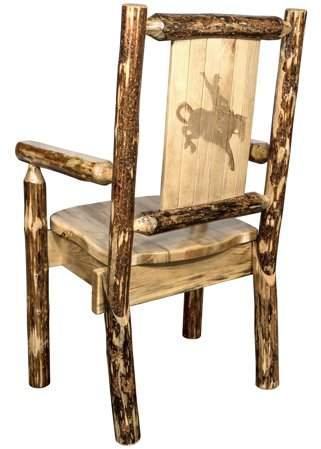 Glacier Country Collection Captain's Chair w/ Laser Engraved Bronc Design – Walmart.com