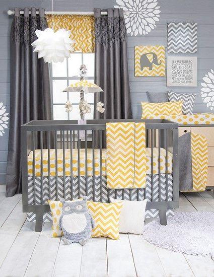 Glenna Jean Swizzle Yellow 4 Piece Crib Bedding Set