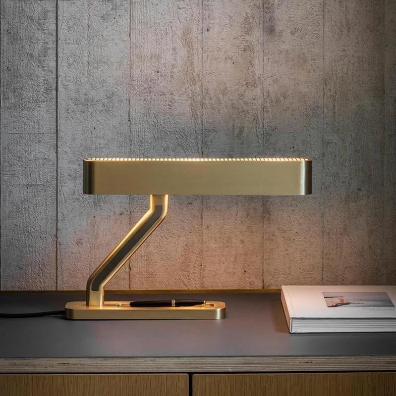 Golden Raw Brass Banker's Table Lamp