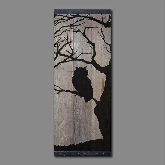 Grange récupéré bois Wall Art – Silhouette de hibou dans arbre nu