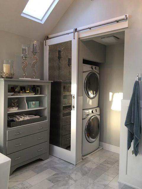 Grasp toilet laundry & water closet #farmdoor #marble