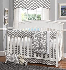 Gray Chevron Baby – Crib Set – Baby Furniture Plus Kids…and maybe add a colore…