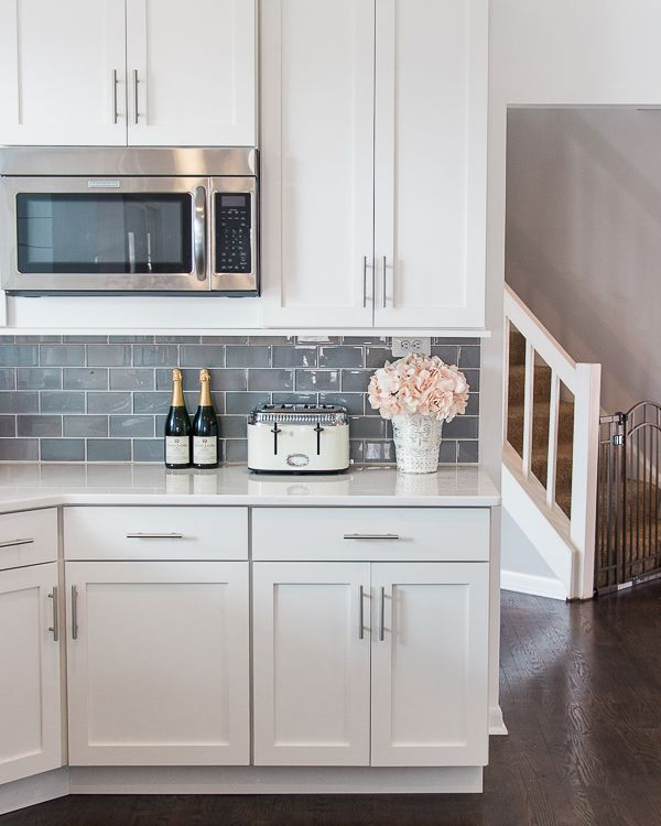 Gray Kitchen Backsplash with White Cabinets