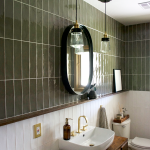 Green and White Color Block Tile Bathroom | brepurposed