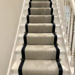 Grey herringbone stair runner with navy trim #victoriawoodley