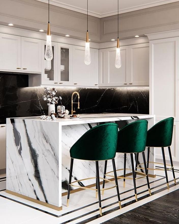 """GreyHunt Interiors on Instagram: """"Isn't this kitchen just STUNNING!! I love how the green barstools pop from this high contrast kitchen!! It also happens to be one of my…"""""""
