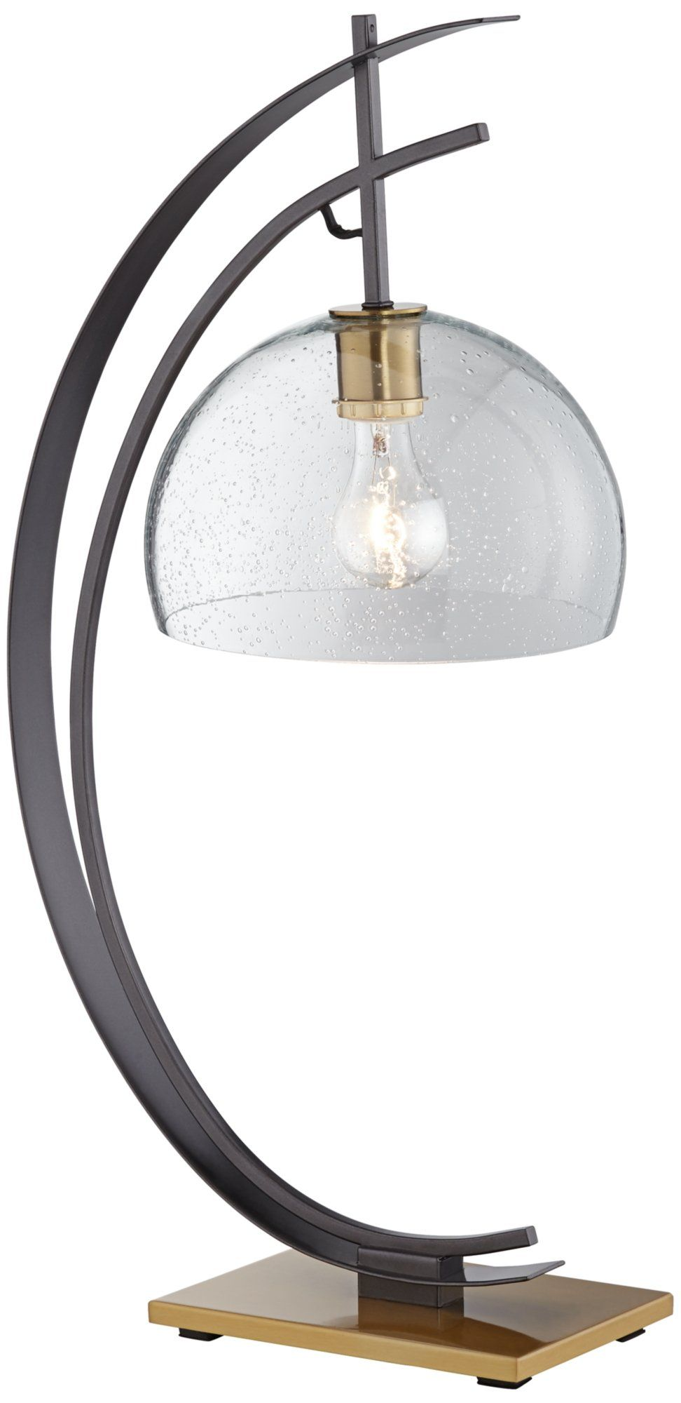 Gun Metal Half Moon Table Lamp with Clear Shade