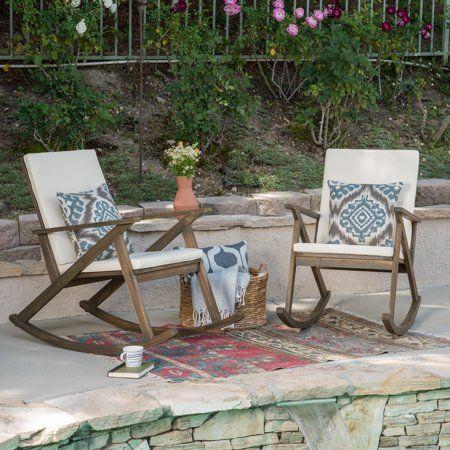 Gustavo Outdoor Acacia Wood Rocking Chair with Cushion, Grey, Cream – Walmart.com