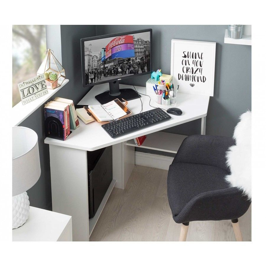 H4home Small Corner Computer Desk White   H4Home Furnitures