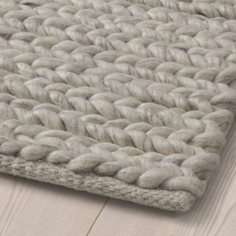 HJORTSVANG Rug – handmade, off-white – IKEA
