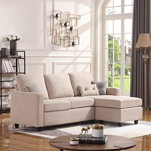 HONBAY Convertible Sectional Sofa Couch, L-Shaped Couch with Modern Linen Fabric for Small Sp…