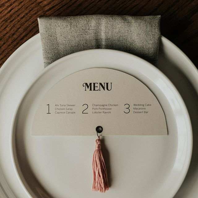 Half Moon Tassel Wedding Reception Menus
