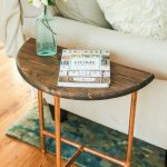 Half Round Copper & Wood Side Table