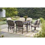 Hampton Bay Laurel Oaks 7-Piece Brown Steel Outdoor Patio Dining Set with Standard Putty Tan Cushions-525.0200.000 - The Home Depot