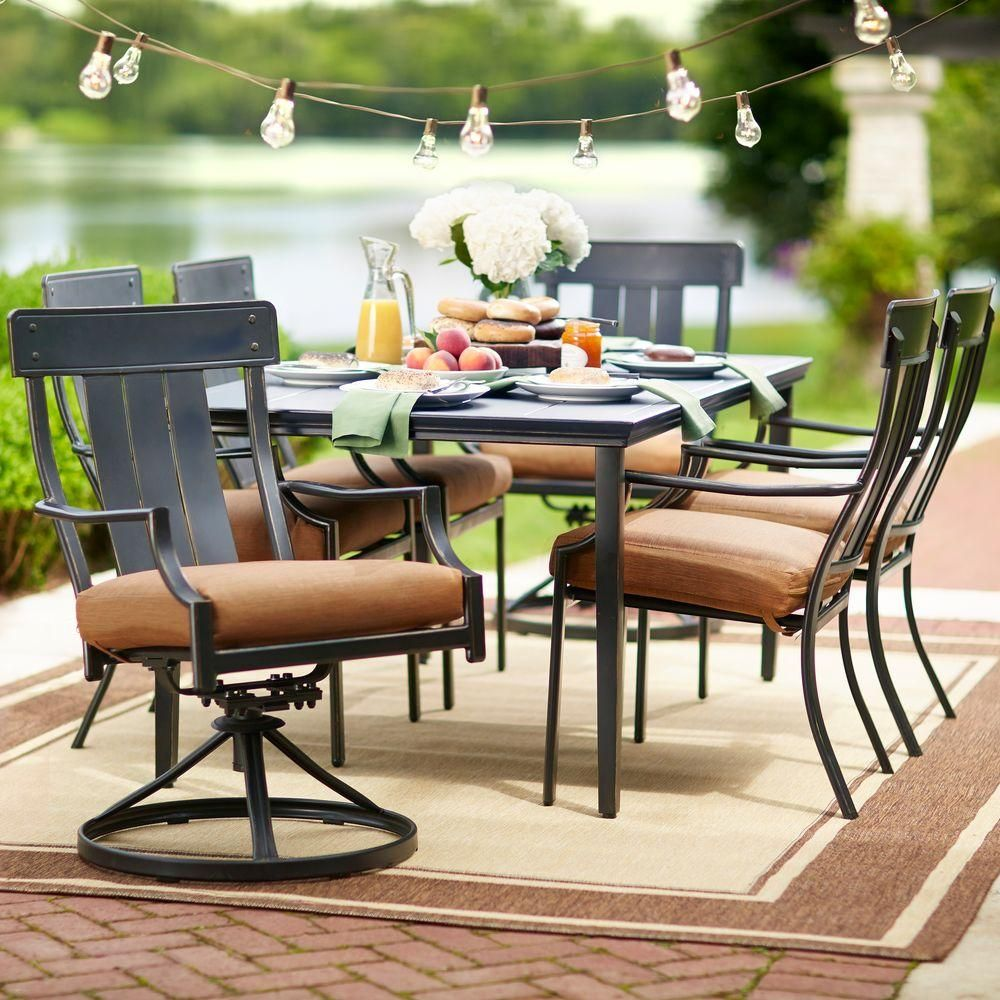 Hampton Bay Oak Heights 7-Piece Metal Outdoor Patio Dining Set with Cashew Cushions-D12237-7PC – The Home Depot