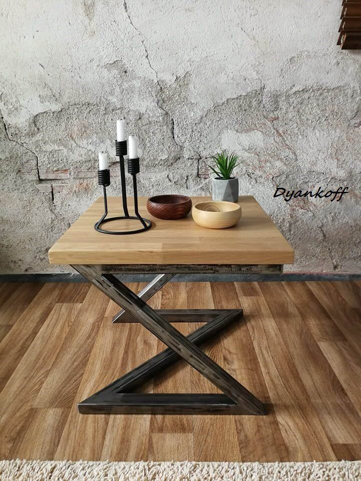 Handmade coffee table, end table, lamp table, couch table, occasional table, industrial table, steel frame, oak top, small table, interior