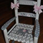 Handpainted Rocking Chair-Kids Rocking Chairs-Rocking Chair-Nursery Furniture-Baby Shower-Toddler Gift-Chevron- Pink Elephant-Girls