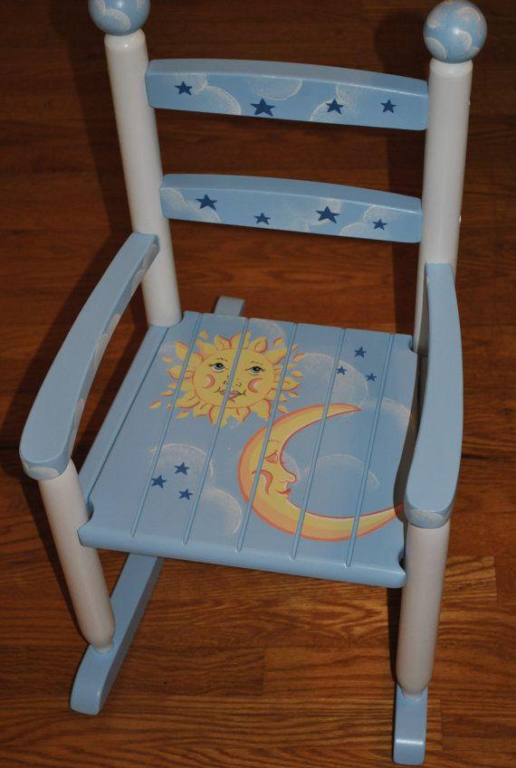 Handpainted Rocking Chair-Kids Rocking Chairs-Rocking Chair-Rocker-Nursery Furniture-Baby Shower-Toddler Gift-Celestial-Sun-Moon-Star