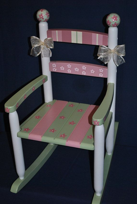 Handpainted Rocking Chair-Kids Rocking Chairs-Rocking Chair-Rocker-Nursery Furniture-Baby Shower-Toddler Gift-Floral Patchwork-Girl