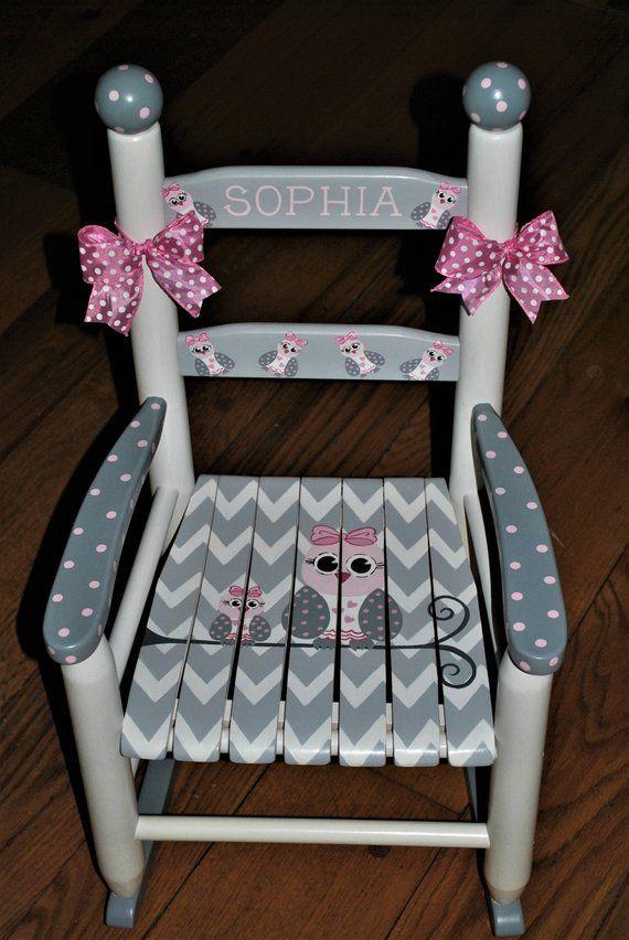 Handpainted Rocking Chair,Kids Rocking Chairs,Rocking Chair,Nursery Furniture,Baby Shower-Toddler Gift-Chevron- Owl Family-Girls